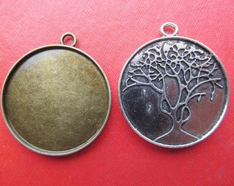 30mm Tree Pendant Tray, Bezel Setting, 30mm Cabochon Tray - Antique Bronze,Antique Silver