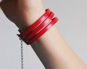 Woman Leather Bracelet Leather Red Bracelet Flat Leather Bracelet Red Leather Jewelry Triple Row Bracelet Stylish Leather Cuff Bracelet Red