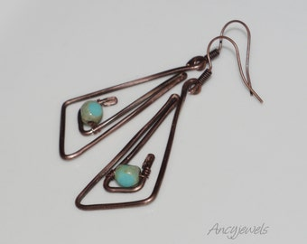 Earrings triangle with blue glass beads