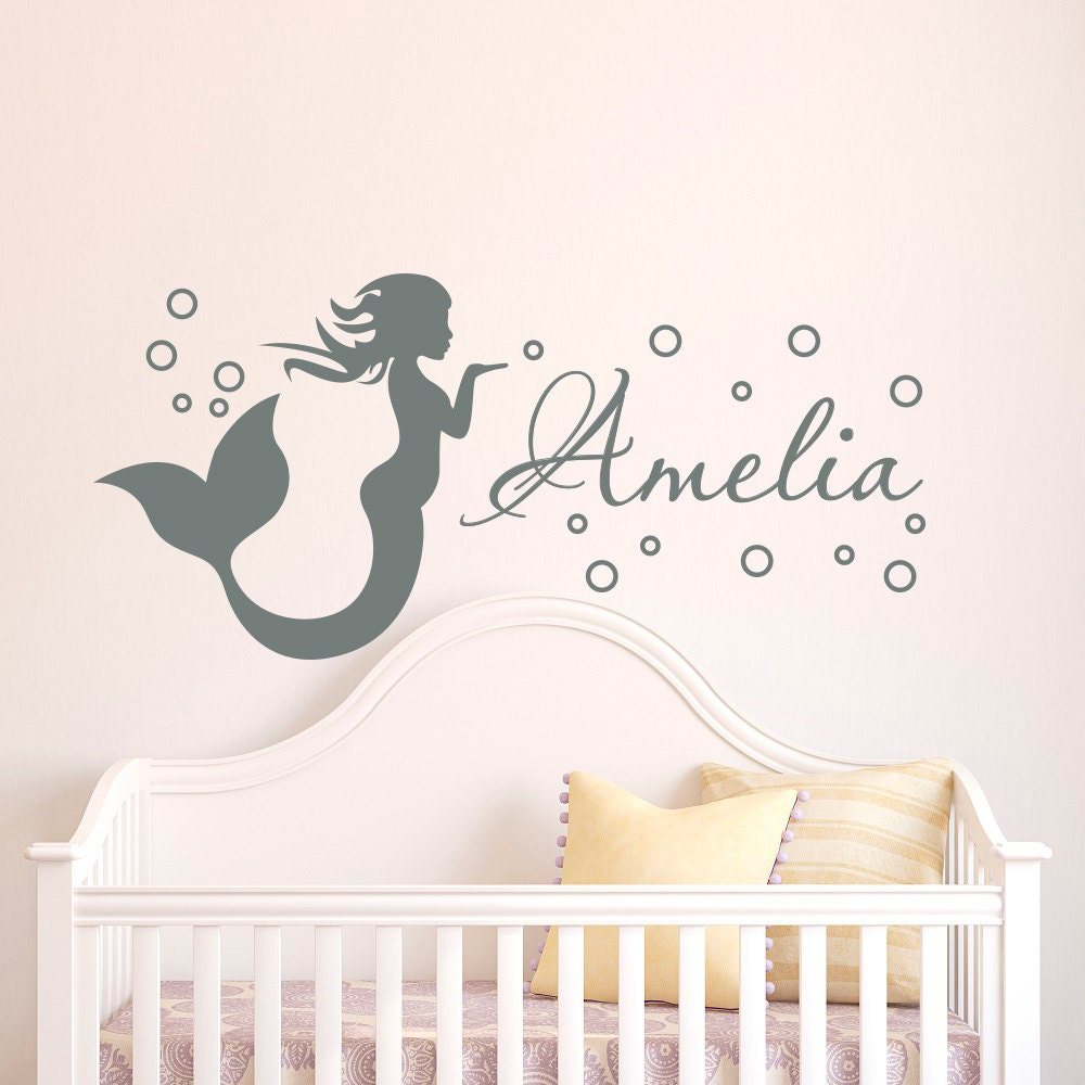 Mermaid Wall Decal Girl Name Decals Vinyl Stickers Girl