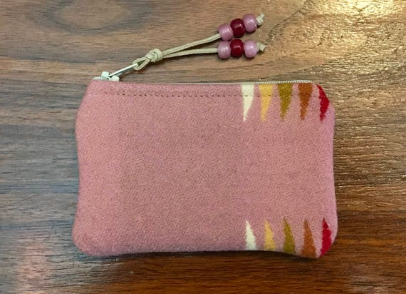 Wool Coin Purse / Phone Cord / Gift Card Holder / Zippered Pouch Pink