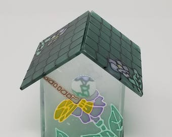 Small Stained Glass Bird House