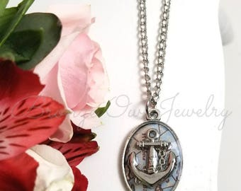 Silver Anchor and Map Necklace - Silver Anchor and Map Pendant - Nautical Anchor Jewelry - Custom Jewelry  - Gifts for Him