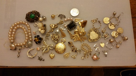 Lot Of Vintage Estate Jewelry For Repurposing Or Upcycling Or Crafts by Etsy