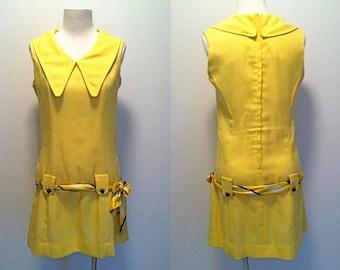 RESERVED Vintage 1960s // Westway Petite Junior // Yellow Collared Dropwaist Mod Mini Dress