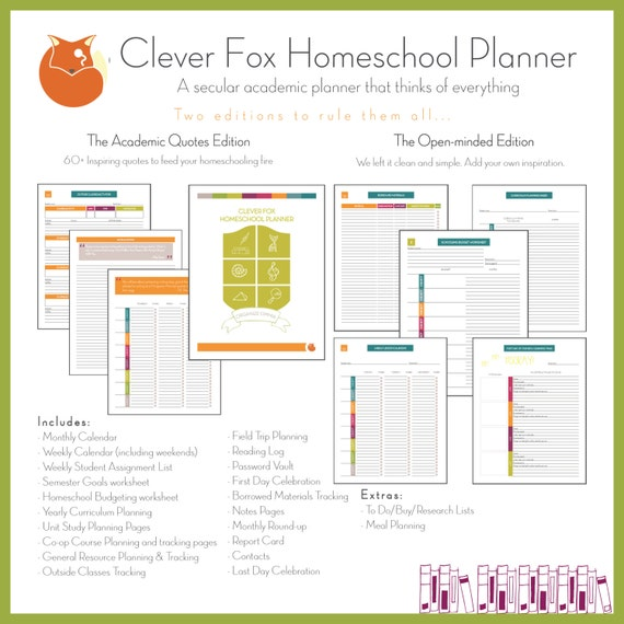 Clever Fox: Clever Fox Homeschool Planner 2017 2018 COMPACT Quotes