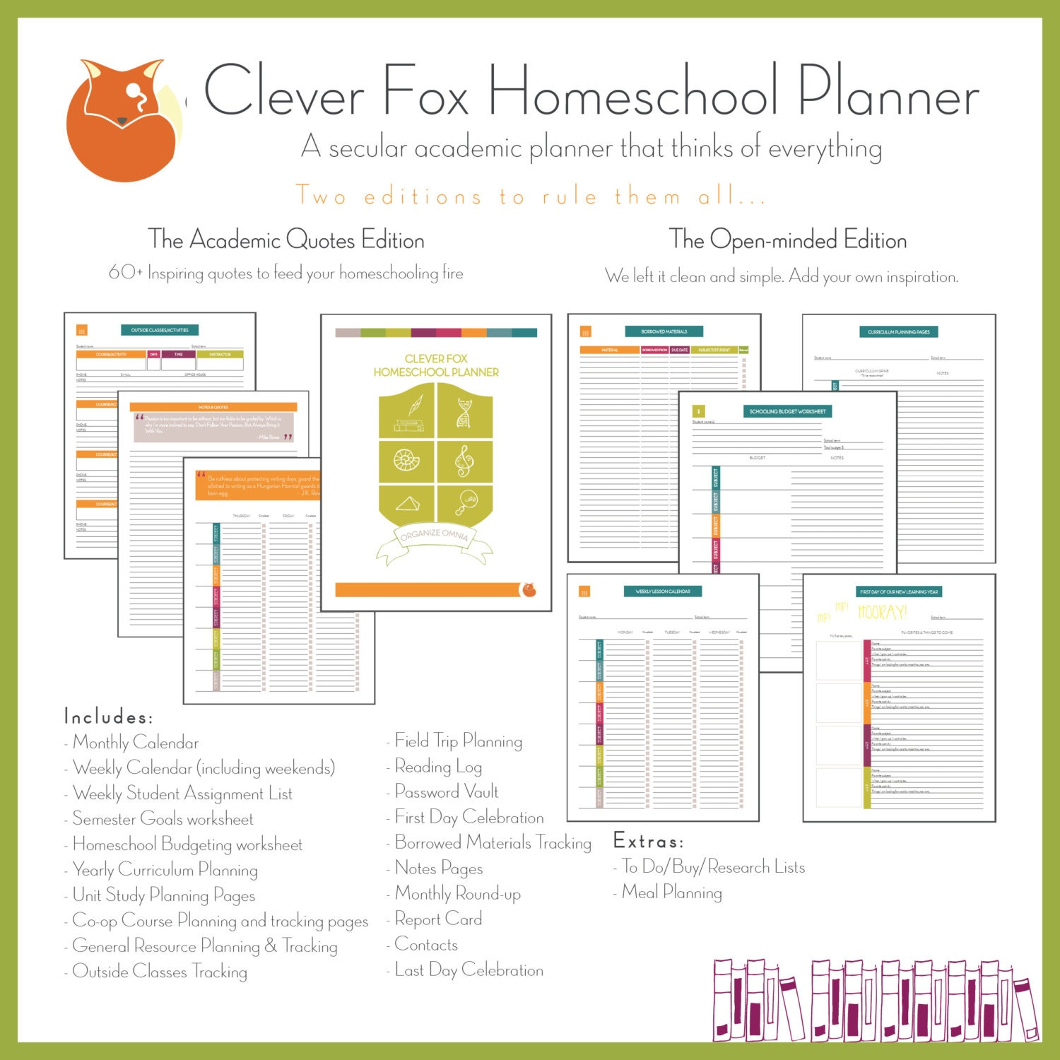 clever fox homeschool planner academic quotes full edition