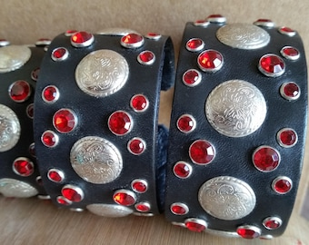 BLACK LEATHER STUD Bracelet Cuff with Red Crystal Studs and Silver Conchos. Womens Girls Rhinestone Bling Wristband. Small Cowgirl Cuff