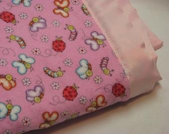 Satin Baby blanket, Girls Baby Blanket, Minky Blanket, Security Blanket, satin trim blanket, toddler blanket, baby blanket, pink blanket