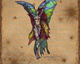 Rainbow Butterfly Digital Download - PNG JPEG Instant Download - Rainbow Fairy Drawing - Raggandbone Illustration