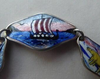 Norwegian Sterling Silver Mid-Century Guilloche Enamel Bracelet with Nordic Scenes in Delicate Silver Interlinked Diamonds