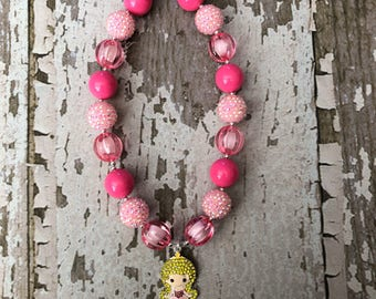 Sleeping Beauty Necklace - Disney Princess Aurora Jewelry Set - Disney Princess Kids Birthday Party Girl Gift Chunky Bead Bubble Gum
