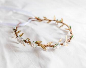 white gold flower hair wreath // bridal wedding flower crown headband / rustic forest spring woodland headpiece / bridesmaids flower crown