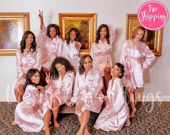SOLID SATIN ROBE - Blush Satin Robe - Bridesmaids Gifts - Bridesmaid Robes - Wedding Robes - Bridal Party Robe - Spa Robe - Lightweight Robe