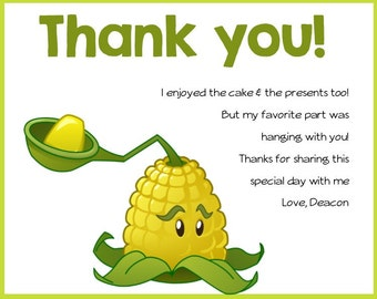 Plants VS Zombies- Birthday Party Thank you Card