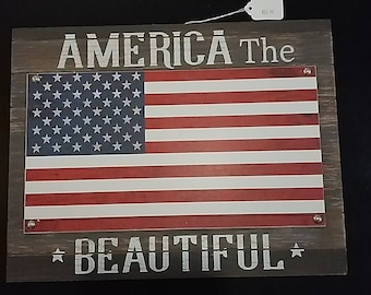 America The Beautiful-  Wooden Sign