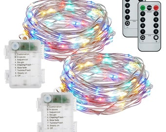 50 LED 2-Pack Battery Operated Waterproof Multi-Colored with Remote Control Timer 50 LED Fairy Lights,16.4feet Silver Wire Light