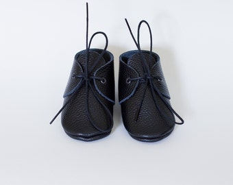 Baby boy black leather moccasins Newborn, infant, toddler soft shoes
