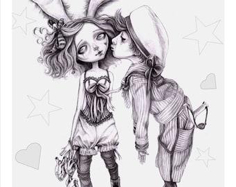 Bunny Girl, a creepy cute A6 card