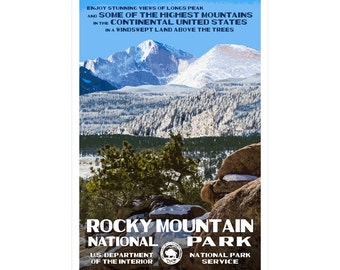 "Rocky Mountain (Longs Peak) National Park Poster, WPA style 13"" x 19"" Signed by the artist. FREE SHIPPING!"
