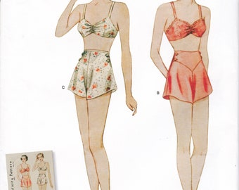 FREE US SHIP Vintage 30's Sewing Pattern Simplicity D0828 8510 Bra Panties Underwear Lingerie Factory Folded Reproduction 4/12 Last size