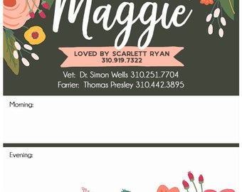 """11x14"""" Custom Horse Stall Sign with feeding instructions on Dry Erase board Charcoal Garden Floral Design"""
