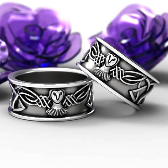 Sterling Silver Owl Wedding Ring Set, His and Hers Wedding Bands, Celtic Wedding Rings, Silver Owl Ring Set, Irish Wedding Bands, CR-1108