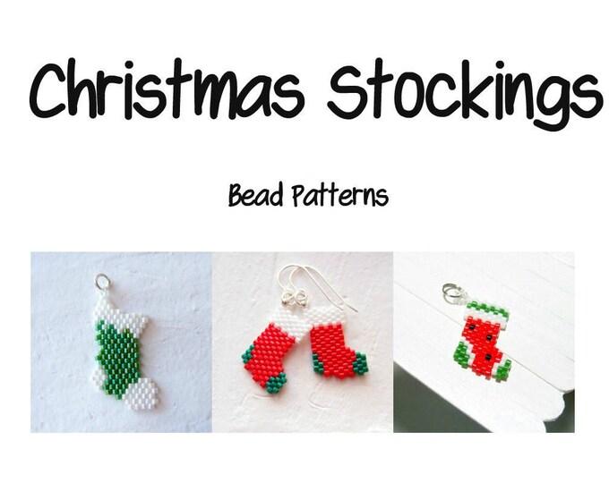 Christmas Stockings Beading Patterns, Brick Stitch   DIGITAL DOWNLOAD