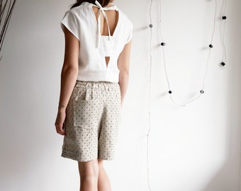 Open back shirt, Open back top, Casual white top, Casual party top, Linen top, Evening top, Vacation shirt ideas, Party top