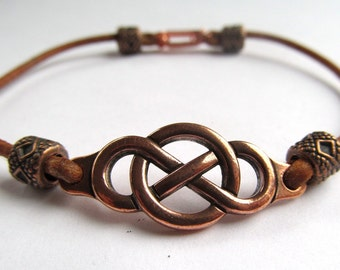 Antiqued Copper Plated Pewter Infinity Focal Beaded Leather Clasp Bracelet