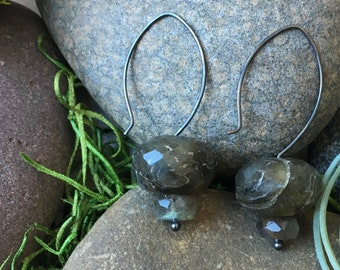 Labradorite Stacked Stone on Oxidized Sterling Silver Hoop Ear Wires