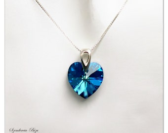 Silver pendant, Swarovski Heart, Heart 14mm, Bermuda Blue, Heart pendant, Bermuda Blue pendant, Turquoise pendant, Turquoise Heart