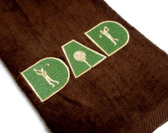 golf towel, gift for him, Father's Day, golf for Dad, embroidered golf, personalize golf, golfer gift, birthday dad, golf gift for dad