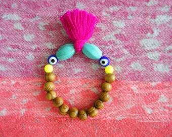 Magenta Tassel Bracelet - Evil Eye Beaded Bracelet - Lucky Protection Bracelet - 1piece