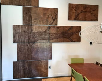 Hand carved wood panel art