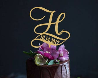 Letter Cake Topper Personalized Data Initial Cake topper Initials Wedding Cake topper monogram Custom Cake Topper Wedding