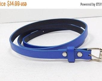 30% SUMMER SALE Vintage 90s Royal Blue Silver Buckle Thin Skinny Adjustable Faux Leather Belt Fashion Accessory Sz 16/XL Plus Size