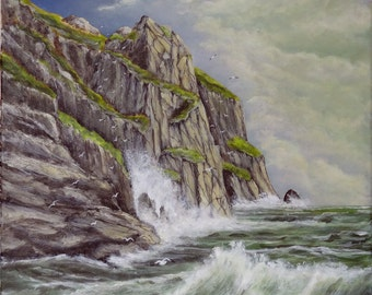 "Original painting seascape ""from the bottom of the cliff"" acrylic painting on canvas"