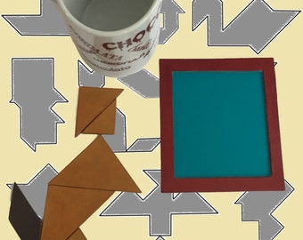 Personalized Magnetic Leather Tangram Puzzle Coaster for Children & Adults