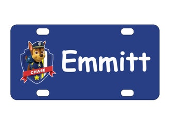 Kid's Paw Patrol Chase Personalized Mini License Plate-Bike Plate-Kid's Bedroom Door Sign