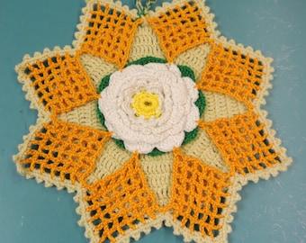 Lovely sweet single swedish unused handmade crochet vintage 1970s mustard/ yellow/white cotton thread decoration potholder/ kettleholder