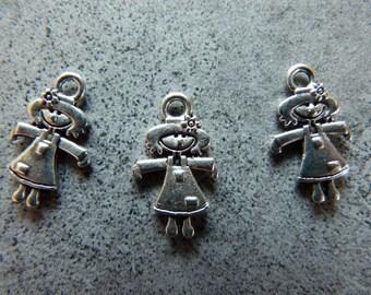 Metal gardener girl X 3 theme charms