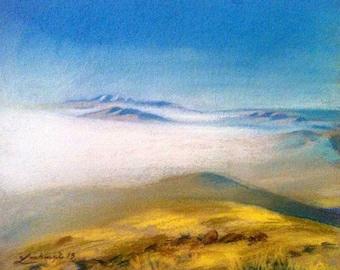 Dream. #Art #Artwork #Mountains #Fields #Sky #Armenia #Contemporary #Nature #Painting #Graphic