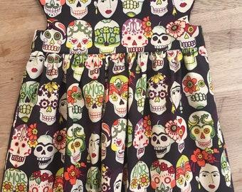 Girls' Colorful Dia de Los Muertos Empire Waist, Cap Sleeve Dress - Gotas de Amor