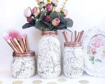 White marble, black marble mason jar, marble desk accessories, marble decor, makeup brush holder, teen room, marble storage jar, makeup pot