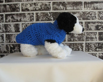 Dog sweater in blue, extra small pet sweater, small dog sweater, blue pet sweater, crochet dog sweater,