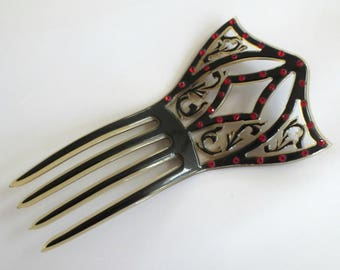 "OLD Mantilla Celluloid Hair Comb, Black with Red Rhinestones, 5.5"" Long"