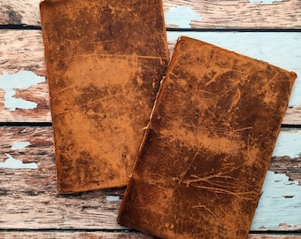 2 Antique Leather Book Covers from 1846. Very Old Book Boards. Beautiful 172 Yr Old Leather Book Covers. Journal Making Notebook, Smash Book