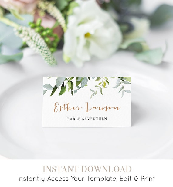 Self-editing Place Card Template, Printable Wedding Escort Card, Name Card, Greenery Seating Card, INSTANT DOWNLOAD, Editable #016-107PC