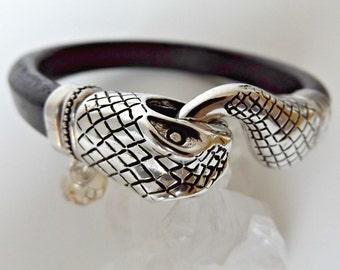 Leather bracelets, snake head bracelet, snakeskin bracelet, snakeskin for woman, snake skin bracelet, ouroboros bracelet, leather jewelry